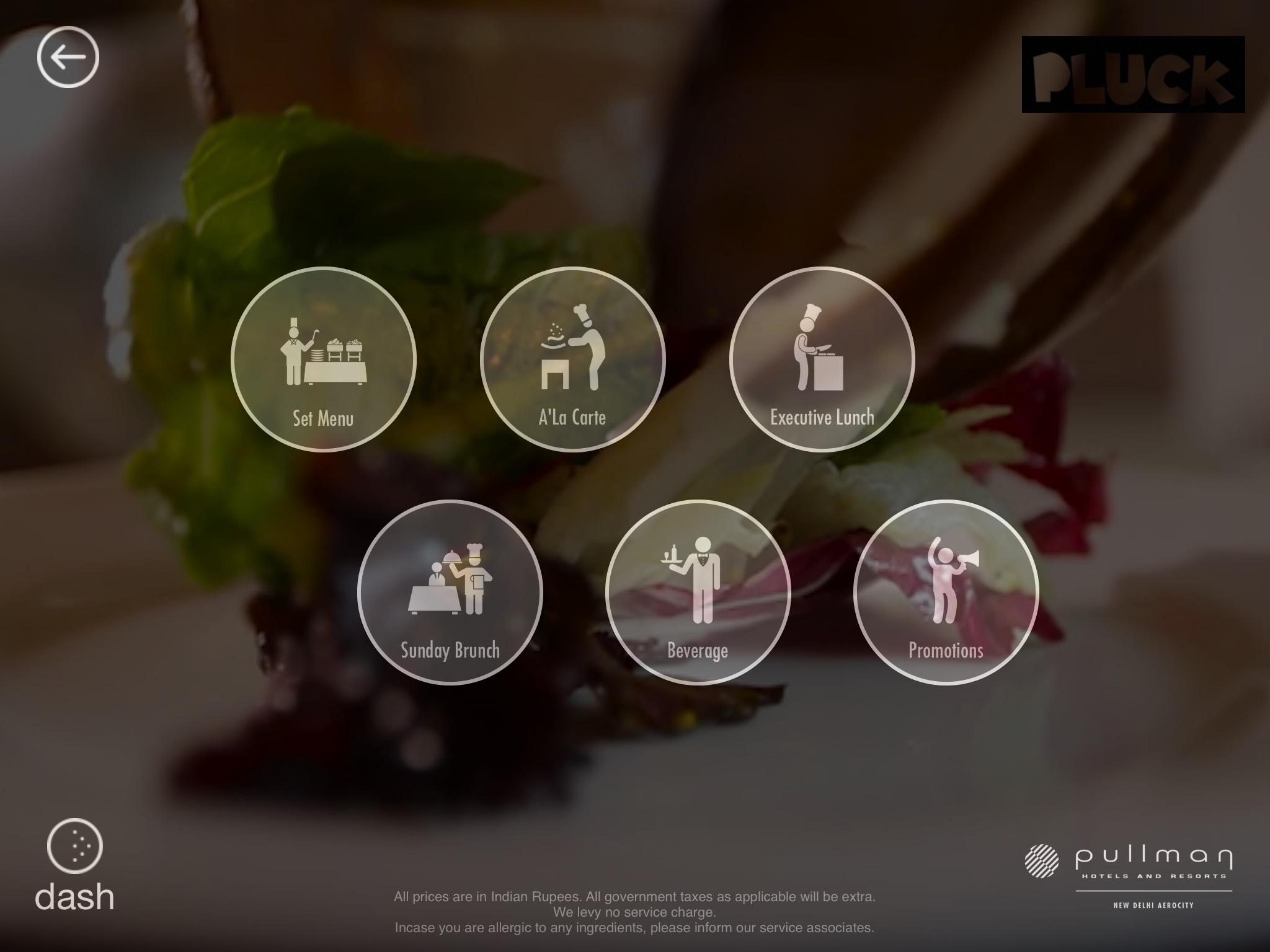 IdeaChakki Dash Menu iPad App for restaurants like Taj Pullman and ITC